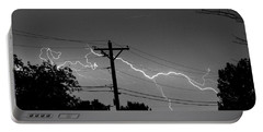 Power Lines Bw Fine Art Photo Print Portable Battery Charger