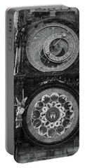 Prague Astronomical Clock In B/w Portable Battery Charger
