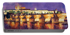 Prague Night Panorama Charles Bridge  Portable Battery Charger