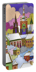 Prague Old Roofs Prague Castle Winter Portable Battery Charger