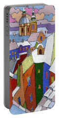 Prague Old Roofs Winter Portable Battery Charger