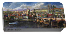 Prague Panorama Charles Bridge Prague Castle Portable Battery Charger