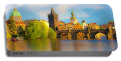 Praha - Prague - Illusions Portable Battery Charger by Tom Cameron