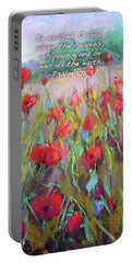 Praising Poppies With Bible Verse Portable Battery Charger