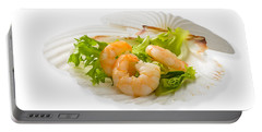 Prawn Appetizer Portable Battery Charger by Amanda Elwell