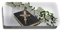 Prayer Book With Flowers Portable Battery Charger