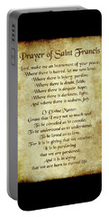 Prayer Of St Francis - Antique Parchment Portable Battery Charger by Ginny Gaura