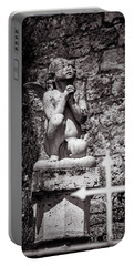 Praying Angel In Auvillar Cemetery Bw Portable Battery Charger by RicardMN Photography