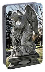 Portable Battery Charger featuring the photograph Praying Cemetery Angel  by Gary Whitton