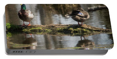 Portable Battery Charger featuring the photograph Preening Ducks by David Bearden