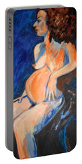 Pregnant Woman In Blue Portable Battery Charger by Esther Newman-Cohen