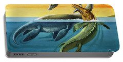Prehistoric Creatures In The Ocean Portable Battery Charger by English School