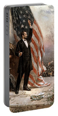 President Abraham Lincoln Giving A Speech Portable Battery Charger