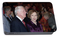 Portable Battery Charger featuring the photograph President And Mrs. Jimmy Carter Nobel Celebration by Jerry Battle