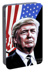 Portable Battery Charger featuring the painting President by Andrzej Szczerski