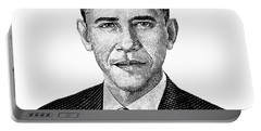 President Barack Obama Graphic Black And White Portable Battery Charger