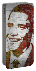 President Barack Obama Portrait United States License Plates Portable Battery Charger by Design Turnpike