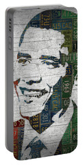 President Barack Obama Portrait United States License Plates Edition Two Portable Battery Charger by Design Turnpike