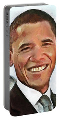 President Barack Obama Portable Battery Charger by Wayne Pascall