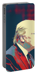 Portable Battery Charger featuring the painting President Donald Trump by Celestial Images