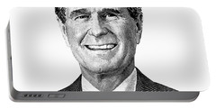 President George H. W. Bush Graphic Black And White Portable Battery Charger by War Is Hell Store