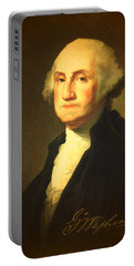 President George Washington Portrait And Signature Portable Battery Charger by Design Turnpike