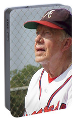 Portable Battery Charger featuring the photograph President Jimmy Carter - Atlanta Braves Jersey And Cap by Jerry Battle