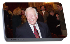 Portable Battery Charger featuring the photograph President Jimmy Carter - Nobel Peace Prize Celebration by Jerry Battle