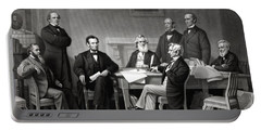 President Lincoln And His Cabinet Portable Battery Charger by War Is Hell Store