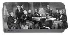 President Lincoln His Cabinet And General Scott Portable Battery Charger