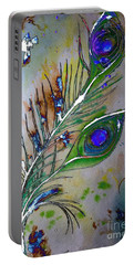 Pretty As A Peacock Portable Battery Charger by Denise Tomasura