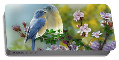 Pretty Blue Birds Portable Battery Charger by Morag Bates
