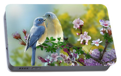 Portable Battery Charger featuring the mixed media Pretty Blue Birds by Morag Bates