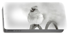 Pretty Cardinal In Black And White Portable Battery Charger by Trina Ansel