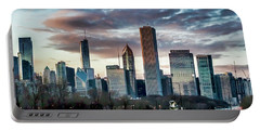 Pretty Clouds Over Chicago Skyline Portable Battery Charger