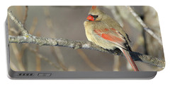 Pretty Female Cardinal Portable Battery Charger by Brook Burling