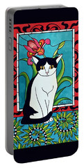 Portable Battery Charger featuring the painting Pretty Me In Tuxedo by Dora Hathazi Mendes