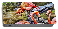 Portable Battery Charger featuring the photograph Pretty Pink Flamingos by Joan Reese