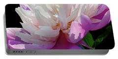 Pretty Pink Peony Flower On Black Portable Battery Charger by Carol F Austin