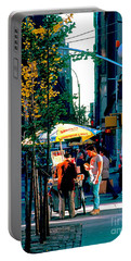 Hot Dog Stand Nyc Late Afternoon Ik Portable Battery Charger
