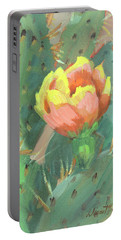 Portable Battery Charger featuring the painting Prickly Pear Cactus Bloom by Diane McClary