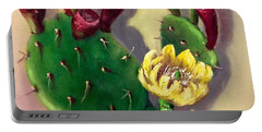 Portable Battery Charger featuring the painting Prickly Pear Cactus by Randol Burns