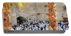 Portable Battery Charger featuring the photograph Prayer Of Shaharit At The Kotel During Sukkot Festival by Yoel Koskas
