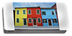 Primary Colors Too Burano Italy Portable Battery Charger by Rebecca Margraf