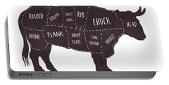 Primitive Butcher Shop Beef Cuts Chart T-shirt Portable Battery Charger