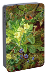 Primrose And Robin Portable Battery Charger by William John Wainwright