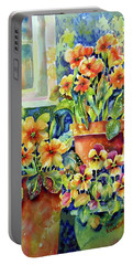 Primroses And Pansies II Portable Battery Charger