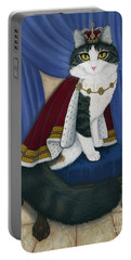 Portable Battery Charger featuring the painting Prince Anakin The Two Legged Cat - Regal Royal Cat by Carrie Hawks