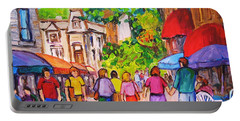 Portable Battery Charger featuring the painting Prince Arthur Street Montreal by Carole Spandau