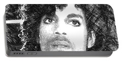 Prince - Tribute Sketch In Black And White 3 Portable Battery Charger